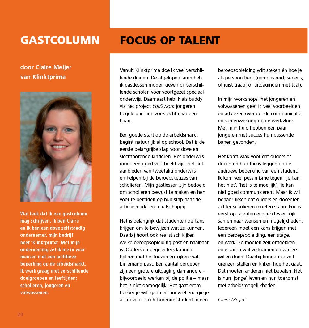 Column Focus op talent